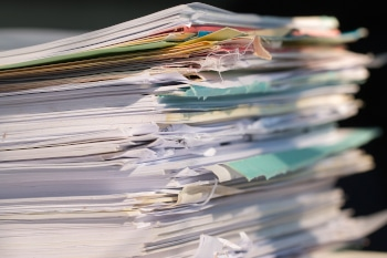 Piled heap high documents folders, Stack business paper on desk messy or paperwork in office. Old Document achieves in print folder doc forms, use recycling for save