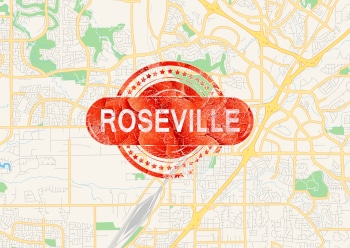 """Map of Roseville, California, USA, with vintage """"Roseville"""" stamp overlaid in red with rough edges"""