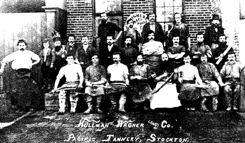 Kullman Wagner Co employees in front of pacific tannery 1877